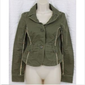 Free People Sz 4 Jacket Army Green Plaid Military